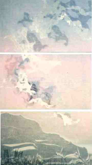 image of triptych monotype Transporations from Mists