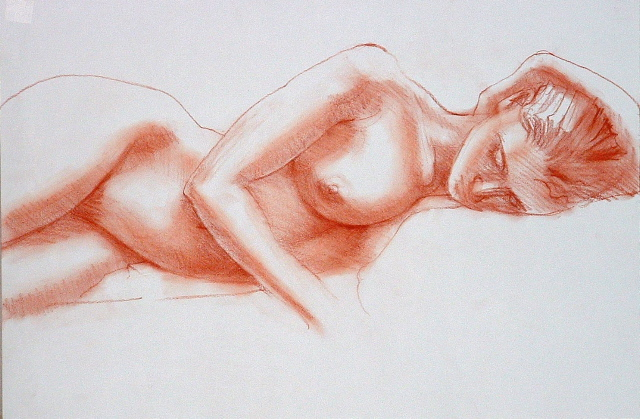 drawing called Lisa, half figure reclining