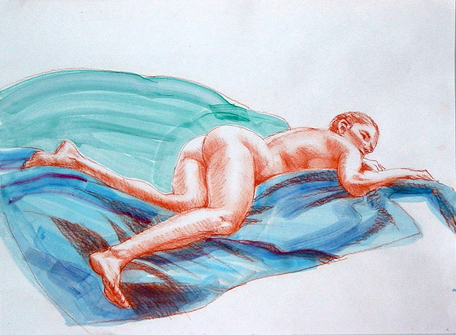 drawing called Reclining Nude on blue and Green