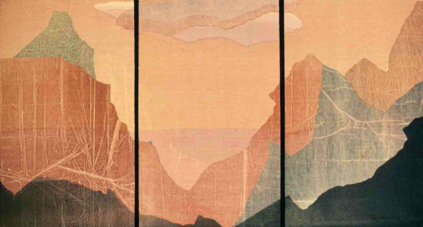 image of triptych monotype Rocky Profiles